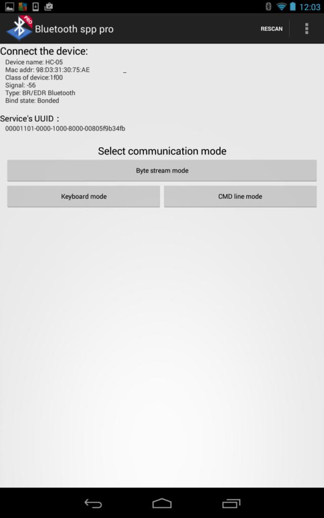 Figura 6: Escolha a opção byte stream mode