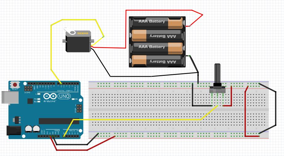 montagem de controle do servo motor com Arduino