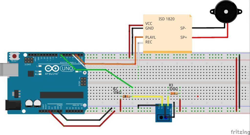 Montagem TCRT5000, Arduino e ISD 1820