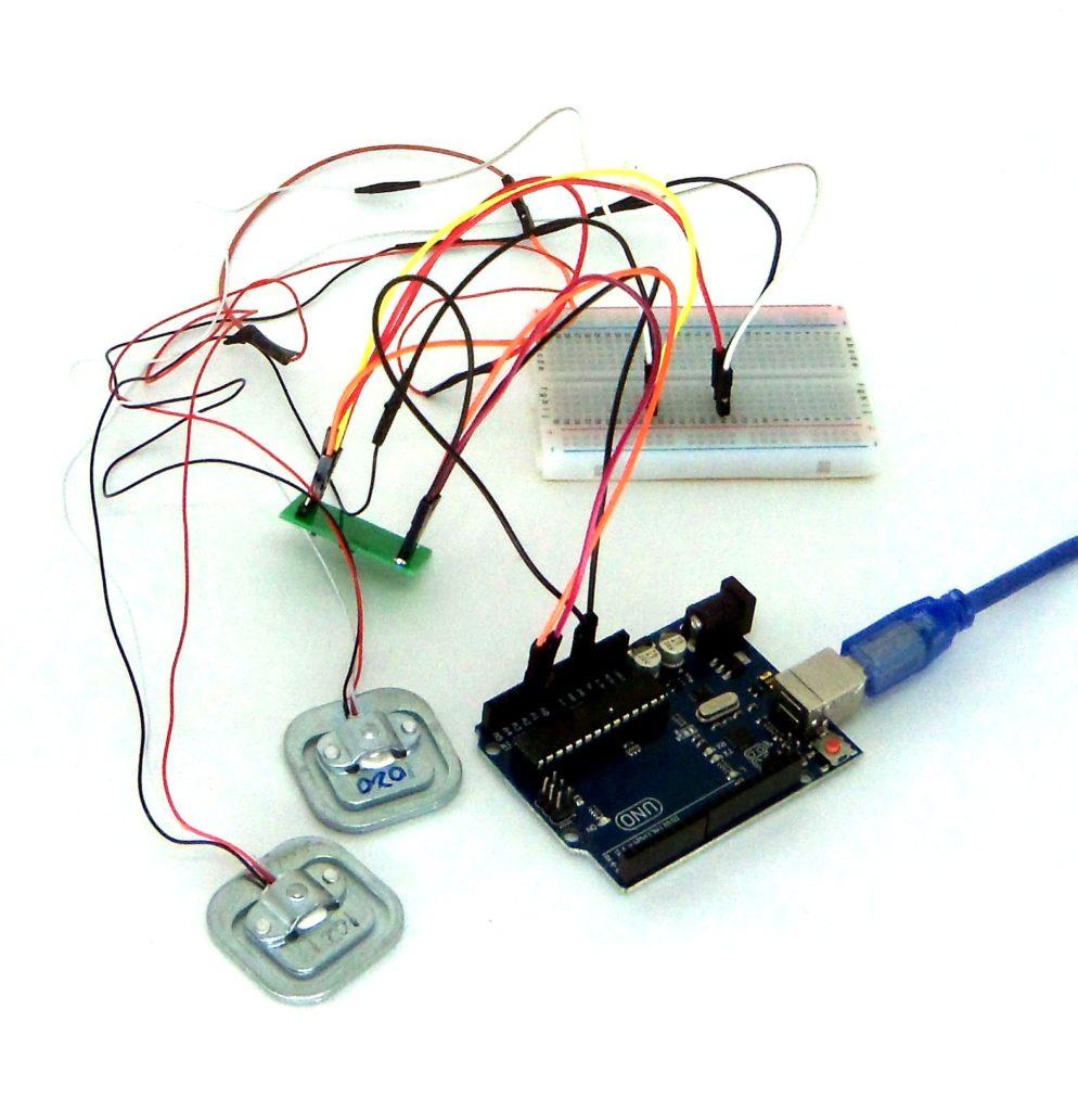Células de carga montadas com Arduino