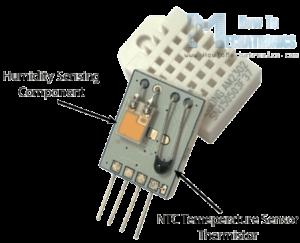 sensor DHT22 aberto e sem a tampa