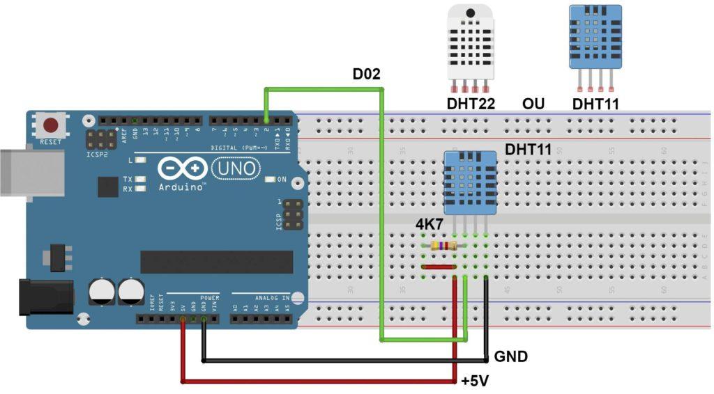 Diagrama Fritzing sensores DHT11 e DHT22