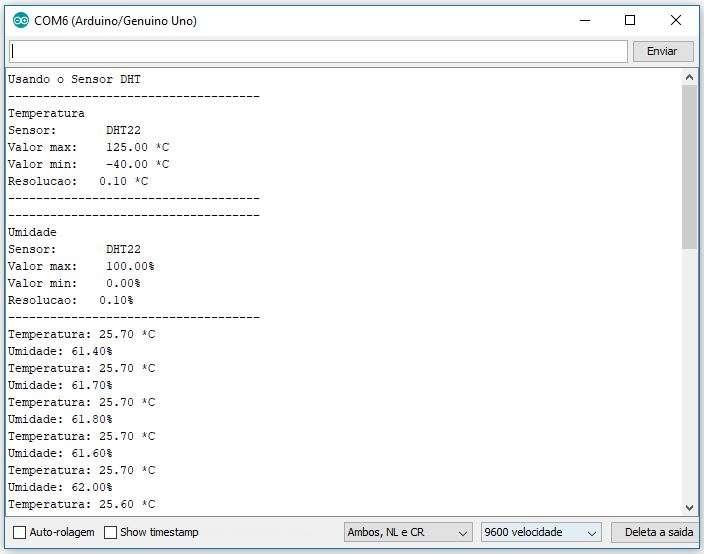 Monitor Serial da IDE - Sensor DHT22