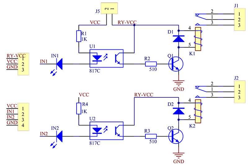 Diagrama do Módulo 2 Relés