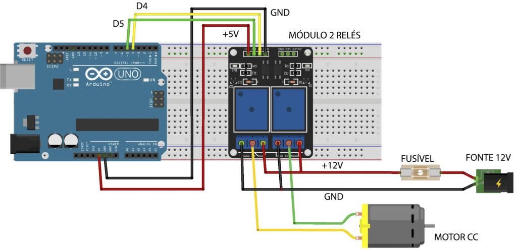 diagrama da montagem da Ponte H com Arduino