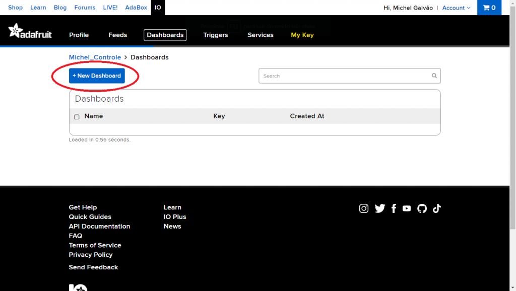 Clique no botão + New Dashboard