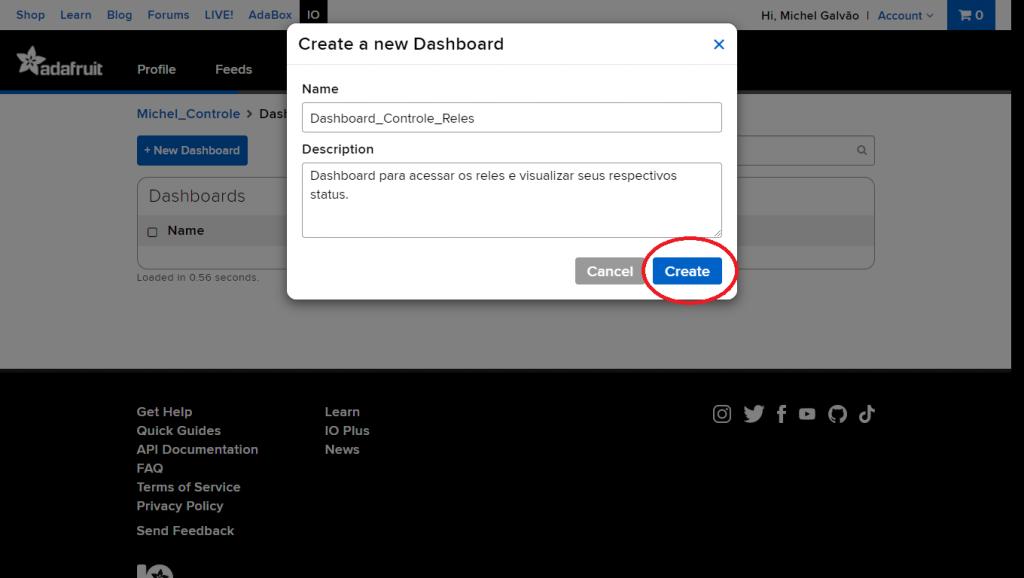 Preencha as informações solicitadas e clique em Create