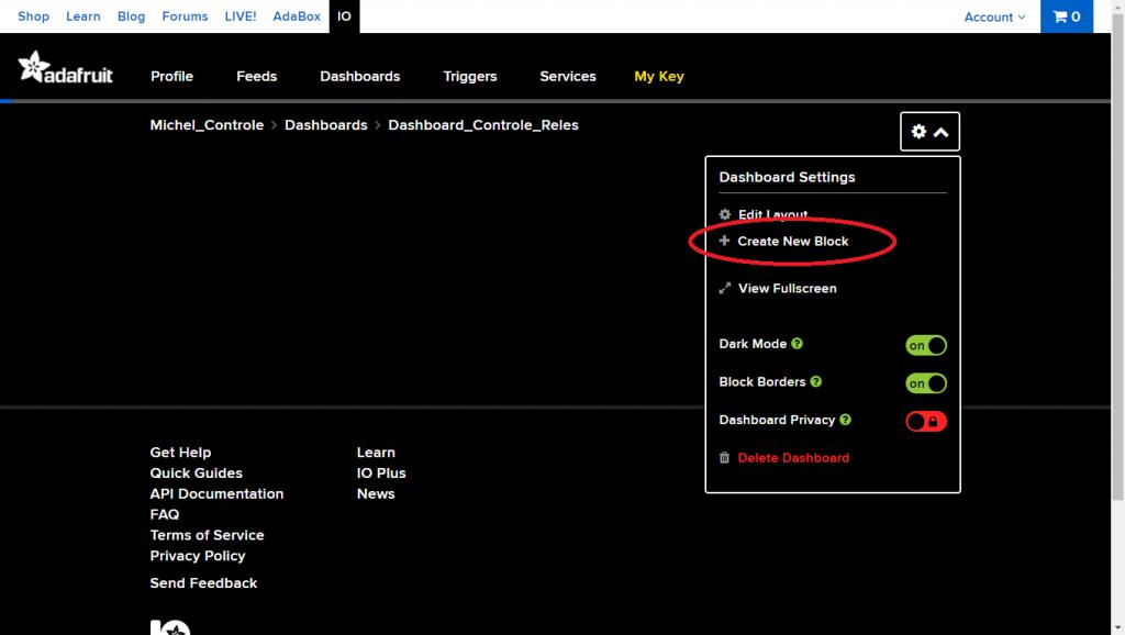 Clique no ícone de configurações e depois clique na opção Create New Block.
