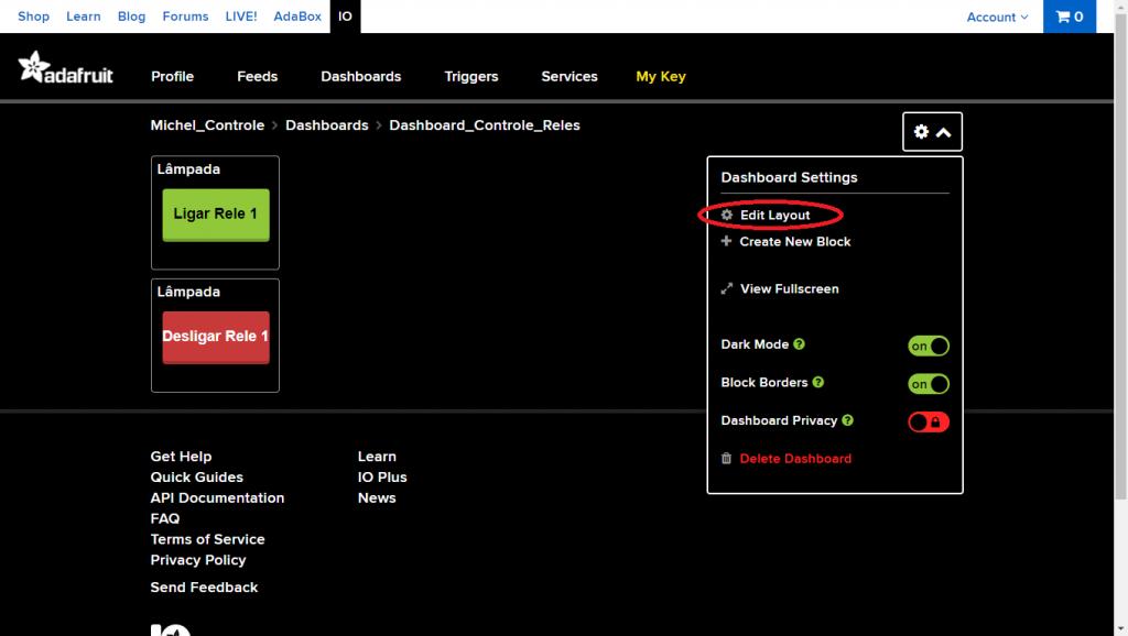 Clique no ícone de configurações e depois em Edit Layout