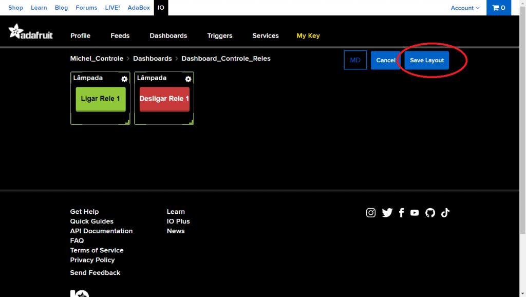 Clique em Save Layout para salvar o redimensionamento da dashboard.