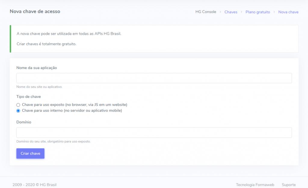 Passo 2 Criação de Conta da API do Tempo
