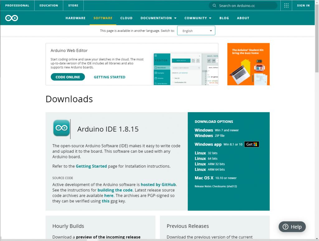 Página oficial do Arduino