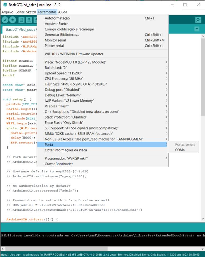 Blog-Eletrogate-Arduino-IDE-ESP8266-Porta